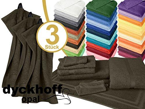 Frottiertücher der Serie Opal - erhältlich in 33 modernen Farben und 7 verschiedenen Größen -Markenqualität von Dyckhoff, 1 Pack (3 Stück) - Gästetücher [30 x 50 cm], braun