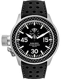 Glam Rock Herren Racetrack 48mm schwarz Silikon Band Stahl Fall Quarz analoge Uhr grt29012F-n