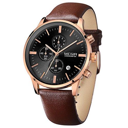 Megir Herren Elegant Uhren Rose Gold Analog Quartz Braun Lederband Chronograph Armbanduhr Wasserdicht