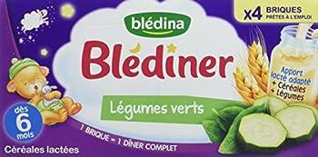 Blédina Blédîner 12 briques 250mL Céréales Lactées aux Légumes Verts dès 6 mois (Pack de 3x4 briques)