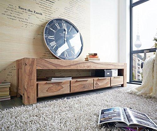 DELIFE Fernsehtisch Blokk Sheesham Natur 200 cm Massivholz 4 Schübe Lowboard
