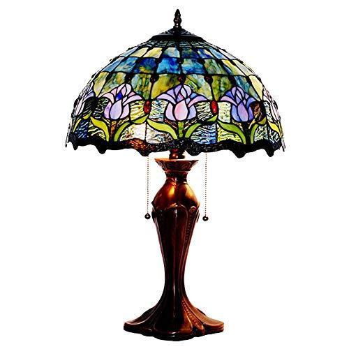 Unbekannt Europäische Stil Tischlampe Tiffany Stil Tischlampe Bunt Glaslampe Cafe Bar Lampen Retro Wohnzimmer Schlafzimmer Zinklegierung Base Tulip Light110v-220V E27x2 (Ohne Glühbirne),110V -