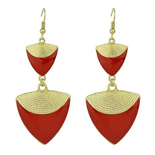 Feelontop® Neuer Entwurfs Gold legierungs elegante rote schwarze weiße Emaille Dreieck Form lange Tropfen Ohrringe mit Schmucksache Beutel ()