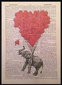 Impression sur page de dictionnaire Motif éléphant et cœurs