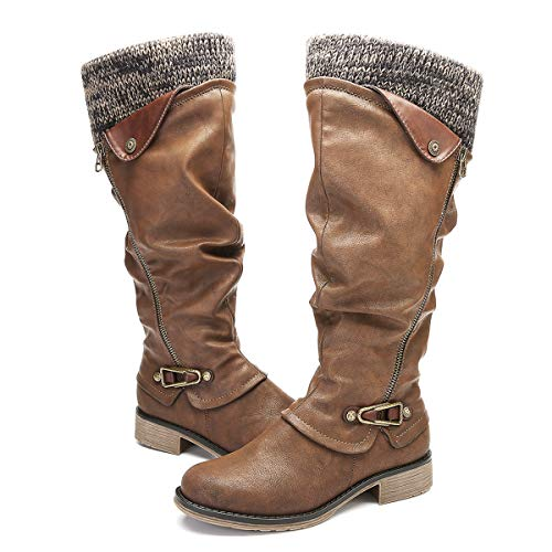 4b87954181d gracosy Knee High Boots Women's Leather Ankle Riding Boots Ladies Low Flat  Heel Closed Toe Fur Lined Winter Warm Snow Boots Comfortable Casual ...