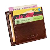 ABYS Bomaby Brown Genuine Leather Card Stock||Travel Wallet||ID Case||Card Holder||Visiting Card Holder||Money Clips for Men and Women