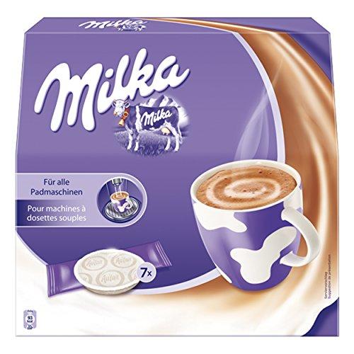 Milka Kakao Pads, heiße Schokolade, Kakao, für alle Padmaschinen, 7 Pads & 7 Sticks