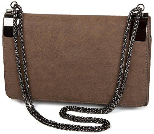 styleBREAKER Clutch, Abendtasche mit Metallspangen und Gliederkette, Vintage Design, Damen 02012046, Farbe:Braun -