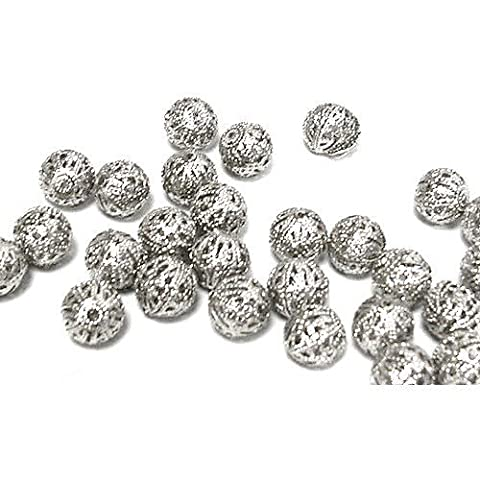 Packet of 30 x Antique Silver Brass 4mm Filigree Spacer Beads - (HA15865) - Charming Beads