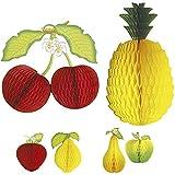 Amakando Wabendeko Frucht wabenförmiges Deko-Obst Kirsche-Ananas Dekofrucht Waben 3D Papierfrucht Partydekoration Cocktail Sommerdeko