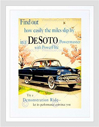 Preisvergleich Produktbild ADVERT CAR AUTOMOBILE CLASSIC DESOTO BLUE COOL USA FRAMED ART PRINT B12X10514