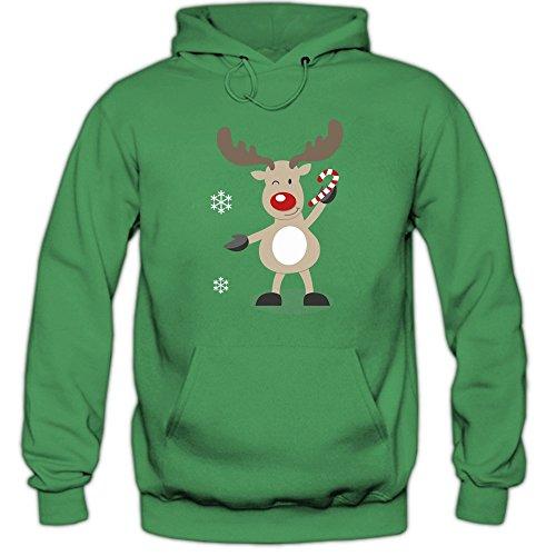 Shirt Happenz Christmas Hoodie #10 | Rentier | Weihnachten | Santa Claus | Nikolaus | Pullover |Kapuzenpullover |Pulli, Farbe:Hellgrün (Kellygreen ()
