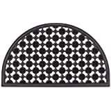 Relaxdays Half Round Rubber Doormat Non-Slip and Weather-Resistant Rain, Snow, as door mat Semi-Circular Black Door Mat Hall Porch Walkway, Yard, Patio, Porch
