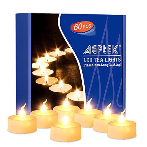 Agptek® candele a led 60 pz batteria operato senza fiamma led tealights candele - bianco caldo