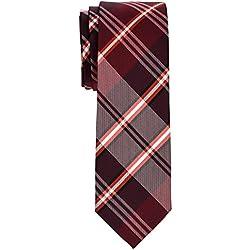 Retreez - Corbata de microfibra de cuadros elegante, 5 cm Rojo granate Talla única