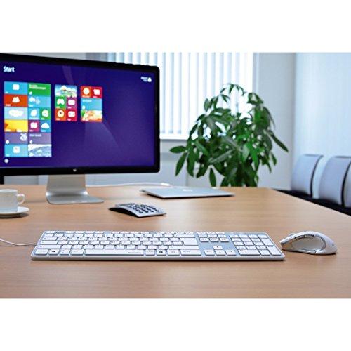 Hama PC Tastatur (Ultra Slim, Apple-Design, USB-kabelgebunden, Deutsches-Layout QWERTZ) weiß/silber - 3