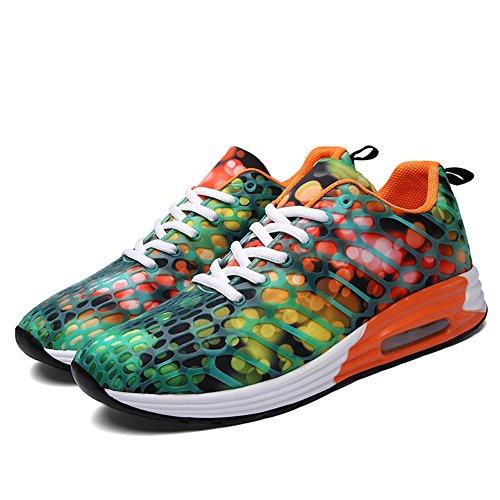 AILU Air Laufschuhe Herren Turnschuhe Damen Sneaker mit Sportschuhe Orange