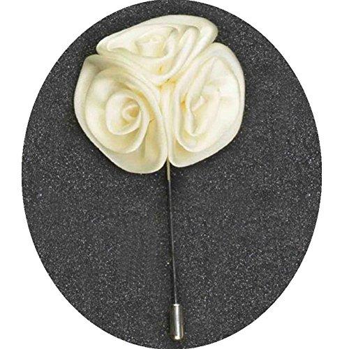 Distinct® Broche broches rose pour hommes d'affaires costumes mode femmes hommes mariage boutonnière fleur épinglette (blanc)