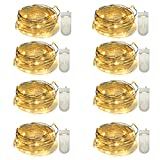 Yasolote Kupferdraht Lichterkette Innen, Knopfbatteriebetrieben, 8 Stücke 30 LED 3M, Weihnachtsbeleuchtung, für Haus, Zimmer, Weihnachtsfest, Hochzeit, Party Deko usw (Warmweiß)