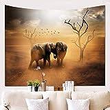 Wandteppich Wandbehang Mandala Tuch Wandtuch Naturlandschaft des Elefanten 3D Gobelin Tapestry Hippie Boho Stil als Dekotuch Tagesdecke indisch Psychedelic,150x130cm/60x50 inch