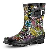 SheSole Damen Kurz Gummistiefel Regenstiefel Stiefel Boots Blumen 40