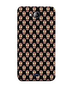 PrintVisa Cute Skull Doodle 3D Hard Polycarbonate Designer Back Case Cover for Micromax Canvas Play Q355