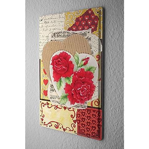 Cartello Targa In Metallo Scudo Carta Di Compleanno Divertimento Armeggiare Cuore di fiori rosa Decorazione In Metallo 20X30