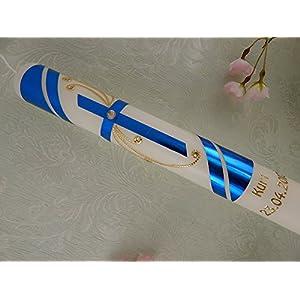 Kommunionkerze Kreuz blau gold handverziert Taufkerzen Kommunionkerzen Junge Mädchen 400/40 mm mit Name und Datum