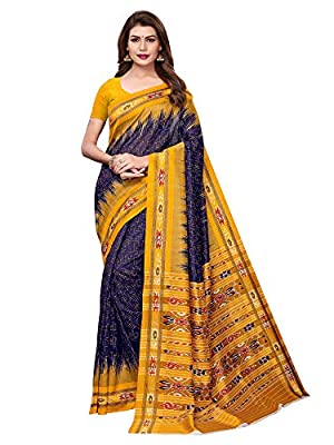 AKHILAM Women's Bhagalpuri Silk Saree with Unstitched Blouse Piece (Multi-Coloured_APHBUSP12904A_P)