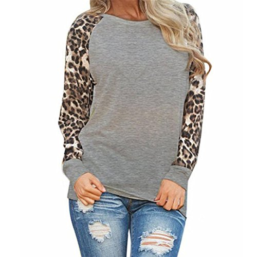 Damen Bluse Langarm Elegant Langarmshirt Übergröße T-Shirt Reteo Oberteil Sommer Tops Frühling Leopard Shirt (S, Grau) (Stoff-tasche Tags)