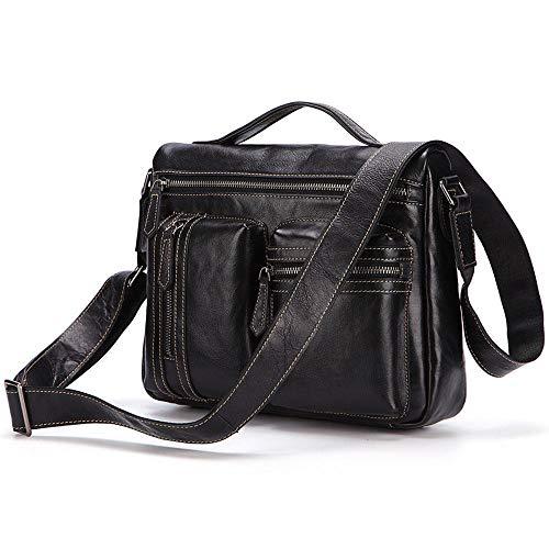 Herren Multifunktions Vintage Leder Schultertasche - Business Casual Aktentasche Leder Crossbody-Tasche, Laptop Tote für Business, Casual Männer (braun, schwarz),Black