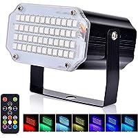Mini luz estroboscópica del LED, AUSHEN activación por sonido y luz de control de velocidad de destello Luz con 36 Brillante Iluminación del escenario de Leds para fiestas de baile Cumpleaños DJ Bar