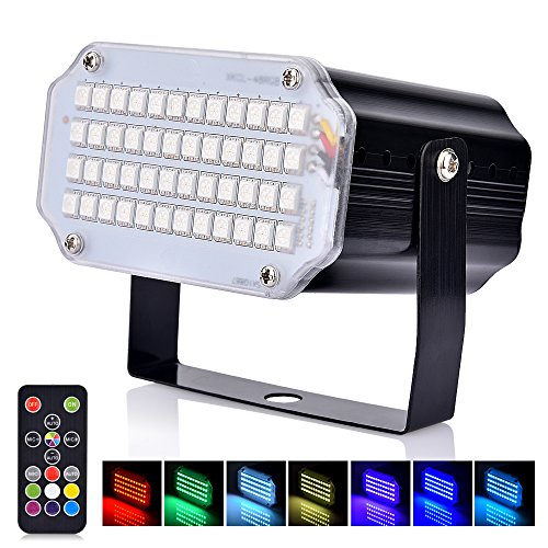 Disco Lichteffekt, Basein 48 LED Stroboskop licht, party licht mit Fernbedienung, Sprachaktiviertes RGB LED Strobe Lampe für Christmas Disco DJ Party