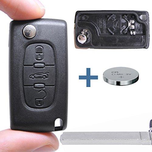 Klapp Schlüssel Gehäuse Funkschlüssel Fernbedienung Autoschlüssel VA2 + Batterie BATTERIEFACH für Citroen/Peugeot/FIAT