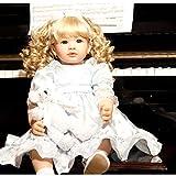 AMITD Toddler Reborn del Bambino della Neonata Reborn, 60 Cm Realistico Morbido Silicone Nuova Bambola Nato E Capelli Ricci Biondi Carino Grandi Occhi Anatomicamente Corretto