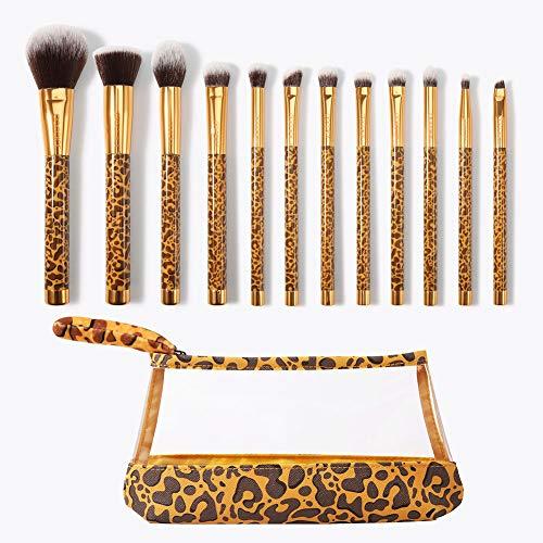 SJTL Makeup Pinsel Set Mode Leopardenmuster 12 pcs Anfänger Professionell Unerlässlich Chemiefaser Einschließlich Puderpinsel Lidschatten Augenbrauenpinsel Konturbürste usw -