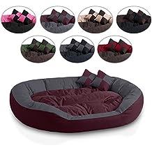BedDog 4 en 1 SABA cereza/gris XXL aprox. 110x80cm colchón para perro, 7 colores, cama para perro, sofá para perro, cesta para perro