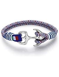 Italienisches Herren Armband in blau marine und grau, mit Anker. Luca Barra DBA885. Wasser Sport, Segeln, Mode, Schmuck
