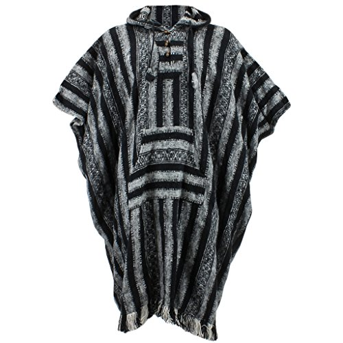 e3c8cde07840 Black & White Woven Cotton Hooded Long Poncho by Loud