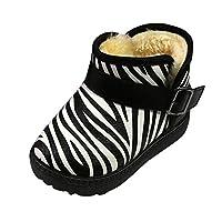 Transer Unisex Children Zebra Thick Lining Snow Boots, Toddler Boys Girls Winter Warm Shoes