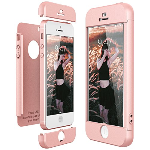 CE-Link Funda para Apple iPhone 5 5S Se Rigida 360 Grados Integral, Carcasa iPhone 5S Silicona Snap On Diseño Antigolpes Choque Absorción, iPhone Se Case Bumper 3 en 1 Estructura - Oro Rosa