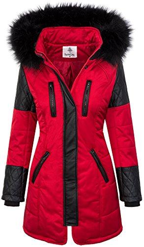 Damen Jacke Outdoor Winterjacke D-355 S-XL, D-355-Rot, Gr. XL
