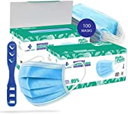Medohealthy Non Woven Disposable Surgical Face Mask With Built in Metal Nose Pin (Blue, Pack of 100)