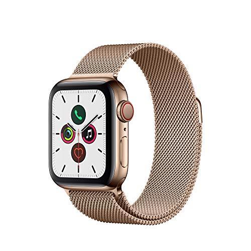 Apple Watch Series 5 (GPS+Cellular, 40 mm) Acero Inoxidable en Oro con Milanese Loop Oro