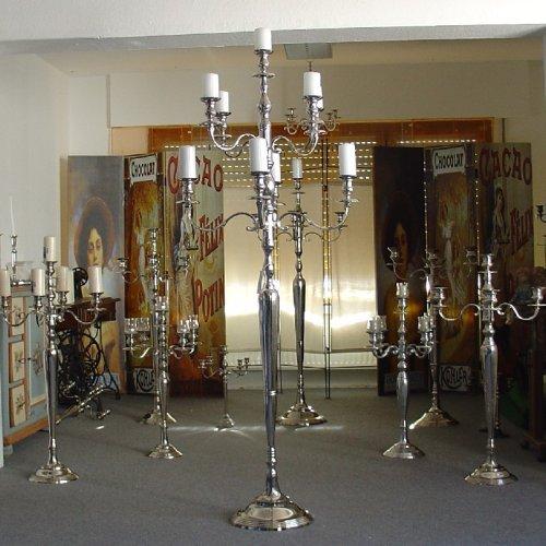 Kerzenleuchter 180cm - 9-flammig Kerzenständer Silber vernickelt von Dekowelten