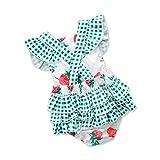 Abito Romper Jumpsuit Bambine e Ragazze,YanHoo Newborn Infant Bambino Ragazze Romper Floreale Print Pizzo Jumpsuit Fascia Outfits Set Verde 100