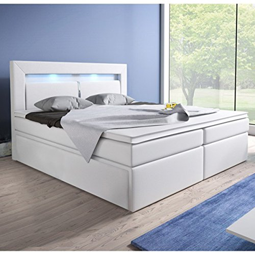 Cama con somier (180x 200cm, con núcleo de muelles Bonell Colchón Topper en H3blanco Hotel cama doble, con cama (LED de iluminación