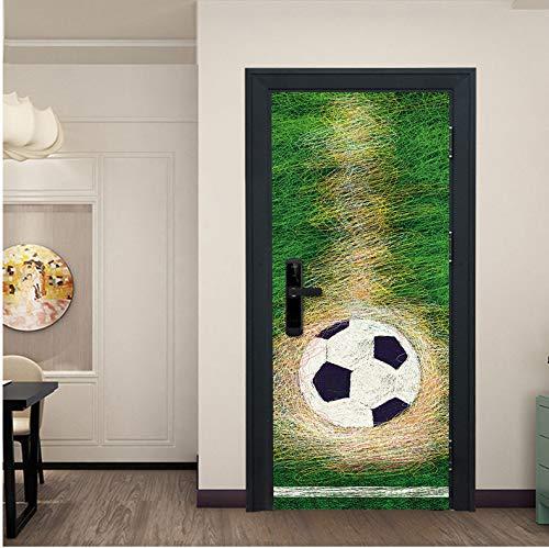 �r Aufkleber Fußball Tor Für Jungen Schlafzimmer Selbstklebende Vinyltür Renovierung Tür Mural Wohnkultur Tapeten 77X200CM ()