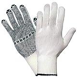 12 Paar Hase Safety Gloves Namur Strickhandschuhe Arbeitshandschuhe mit PVC-Noppen weiß Gr. 7