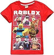 Roblox Camiseta Ropa de Calle para niños Ropa de Vestir Camisas de Manga Corta Fibra de bambú Elástico Elástic
